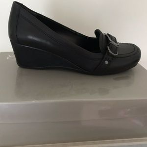 Marc Fisher Black Wedge Slip Ons